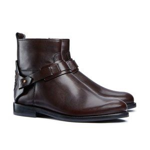 Tory Burch Derby Leather Ankle Boots in Coconut